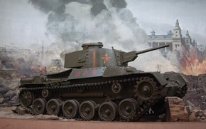 Picture the city, fire, war, smoke, explosions, the ruins, tanks, Chinese, World of Tanks, light, Wargaming.Net, …