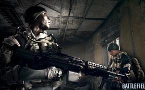 Picture room, soldiers, machine gun, Battlefield 4