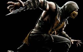 Picture yellow, black, blade, mask, hood, fighter, Scorpio, ninja, Warner Bros. Interactive Entertainment, NINJA, Scorpio, NetherRealm …