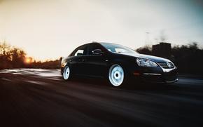 Picture road, speed, Volkswagen, black, black, Volkswagen, stance, jetta, MK5, Jetta