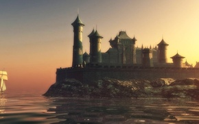 Picture wall, sky, sea, castle, game of thrones, towers