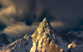 Picture the sky, snow, rocks, mountain, top