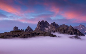 Picture clouds, mountains, fog, rocks, Italy, peaks, The Dolomites