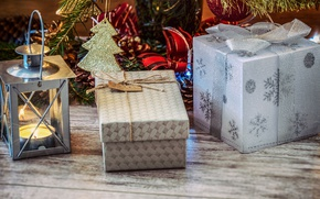 Picture decoration, snowflakes, gift, Board, new year, Christmas, candle, lantern, gifts, bows, herringbone, box, Christmas decorations, …