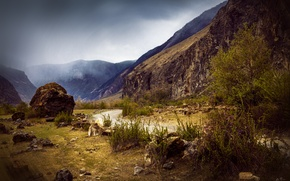 Picture road, clouds, trees, landscape, mountains, nature, stream, stones, rocks, shore, Altay, Republic