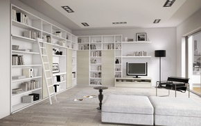Picture design, style, room, interior, library, living room