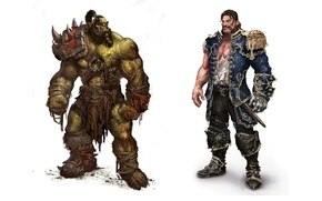 Picture white, wow, background, world of warcraft, artwork, human, warrior, versus, admiral, orc, mists of pandaria
