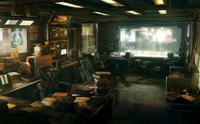 Wallpaper table, books, paper, Deus Ex 3, monitor, furnished, office, chair, working