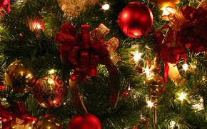Wallpaper red, lights, tree, green, decoration, Christmas decorations