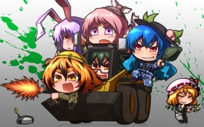 Picture girl, gun, pistol, game, soldiers, weapon, anime, chibi, cross, Battlefield, crossover, Battlefield 3, rifle, Touhou, …