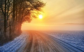 Picture road, sunset, winter
