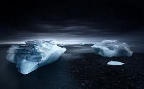 Picture ice, sea, shore, ice, floe, twilight, beach, Iceland, sky, sea, Iceland