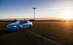 Picture blue, bmw, BMW, blue, football field, e46