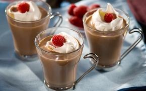 Picture raspberry, milk, Cup, fruit, drinks, cream, fruit, cocoa, drinks, cream, cocoa, milk, cups, raspberries