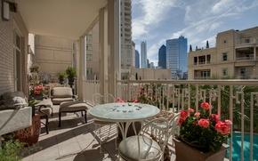 Picture design, the city, style, interior, balcony, megapolis, terrace