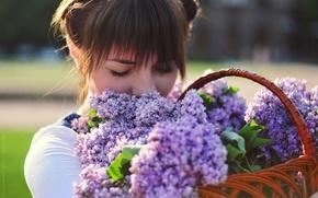 Picture girl, flowers, photographer, girl, basket, photography, photographer, Elena Umrihina