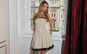 Picture look, girl, dress, window, posing, face, shy, Elizabeth
