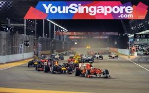 Picture Photo, Lights, Night, Race, Renault, Ferrari, Track, 2010, Formula-1, Red Bull, Williams, Force India, Formula …