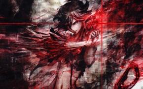 Picture girl, red, glove, kill la kill, matoi ryuuko