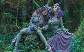 Picture fantasy, art, two girls, Ophelia Overdose, Agnieszka Lorek, Ryo Love, Lavender love