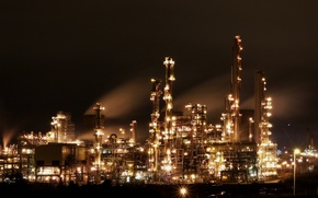 Picture night, lights, plant, industry