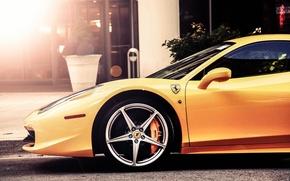 Picture car, Ferrari, Ferrari, drives, 458, yellow, Italia