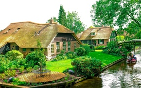 Picture home, Netherlands, Holland, water channel, Giethoorn
