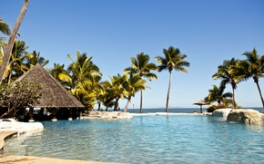 Wallpaper Fiji, Fiji Islands, palm trees, paradise, stay, the Pacific ocean, island, Paradise, beach, the sun, ...