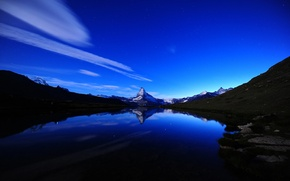 Wallpaper the sky, water, clouds, landscape, mountains, lake, river, stones, rocks, shore, heaven, tops, the reflection, ...