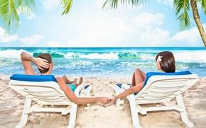Picture sea, women, beach, the sky, clouds, love, nature, men