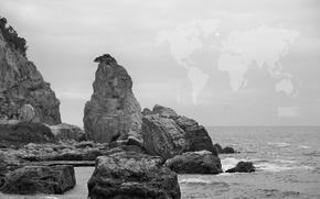 Wallpaper sea, rock, the sky, mood