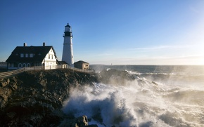 Picture sea, lighthouse, United States, Maine, Cape Elizabeth