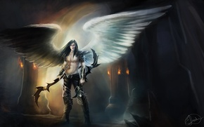 Picture fiction, wings, angel, the demon, art, guy, weapons. look