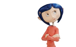 Picture cartoon, girl, white background, scary story, Coraline, Coraline, Coralyn