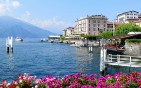Picture flowers, mountains, the city, photo, ship, home, Italy, lake Como, Lombardy, Bellagio