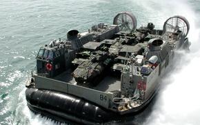 Picture sea, disembarking, Small landing craft air cushion