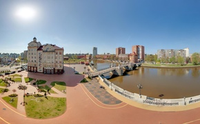 Picture bridge, river, building, Russia, Kaliningrad