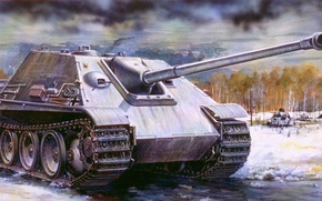 Picture war, art, tank, ww2, tank, german tank, panzerkampfwagen, tank, jagdpanther, Assault tank