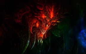 Picture Diablo 3, BACKGROUND, BLACK, SKULL, HEAD, BEING, The DEMON, CREATURE