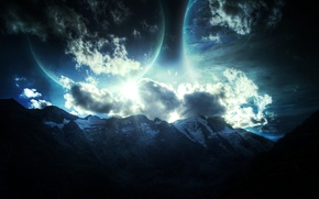 Picture stars, mountains, planet, relief