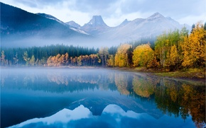 Picture autumn, forest, nature, surface, reflection, tops, mountain lake