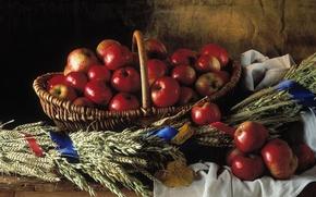 Wallpaper basket, apples, Still life, braided, red