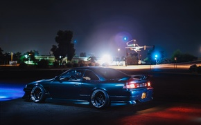 Picture car, auto, night, Nissan, tuning, S14, 240sx, Nissan silvia
