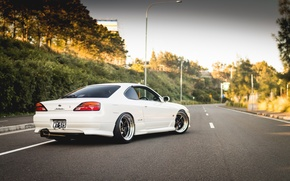 Picture road, white, S15, Silvia, Nissan, white, Nissan, tuning, rear, Silvia