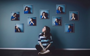 Picture girl, emotions, photo, wall, gestures, portraits