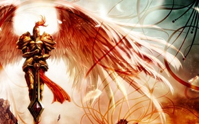 Picture Red, Angel, Sword, Helmet, Wings, cloak, Armor, Armor
