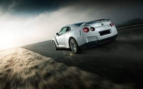 Picture GTR, Nissan, Car, Speed, White, Norway, R35, Sport, Road, Rear
