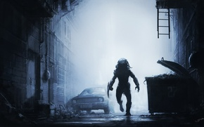 Picture machine, night, fog, garbage, mediocrity, street, predator, warrior, hunting, street, predator, hunt, SID75, Vitaliy Smyk