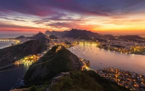 Wallpaper the city, lights, the evening, Brazil, Rio de Janeiro