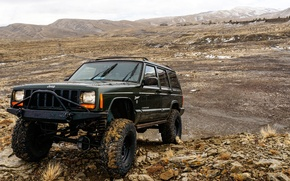Picture mountains, stones, SUV, the roads, American, four-wheel drive, Jeep Cherokee
